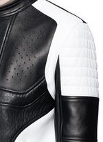 Bicolour leather racer jacket