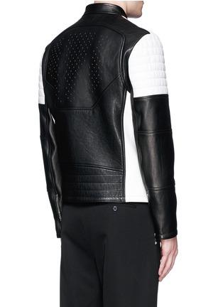 背面 - 点击放大 - NEIL BARRETT - 拼色镂空真皮机车夹克