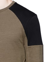 Quilted panel long sleeve T-shirt