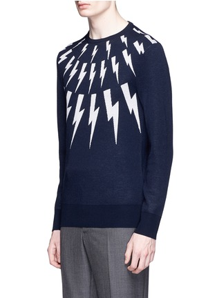 Front View - Click To Enlarge - Neil Barrett - Thunderbolt intarsia Merino wool sweater