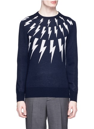 Main View - Click To Enlarge - Neil Barrett - Thunderbolt intarsia Merino wool sweater