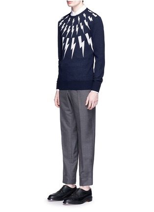 Figure View - Click To Enlarge - Neil Barrett - Thunderbolt intarsia Merino wool sweater