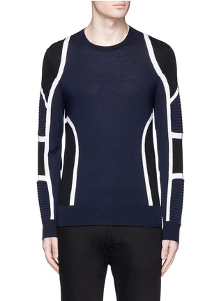 Neil Barrett - Biker ribbing Merino wool sweater