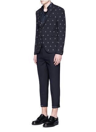 模特儿示范图 - 点击放大 - NEIL BARRETT - 拼色混羊毛长裤
