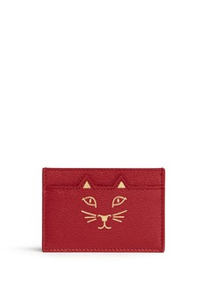 Charlotte Olympia'Feline' cat face leather card holder