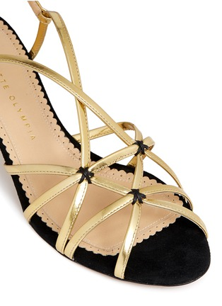 Detail View - Click To Enlarge - Charlotte Olympia - 'Beth' jewel appliqué mirror leather sandals
