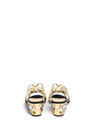 Back View - Click To Enlarge - Charlotte Olympia - 'Beth' jewel appliqué mirror leather sandals