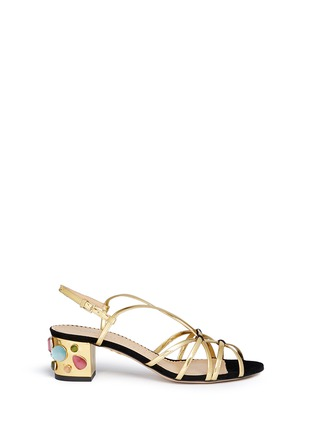 Main View - Click To Enlarge - Charlotte Olympia - 'Beth' jewel appliqué mirror leather sandals