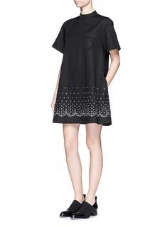 ALEXANDER WANG Eyelet cotton-linen canvas T-shirt dress