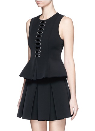 Front View - Click To Enlarge - Alexander Wang  - Lace-up peplum shell top