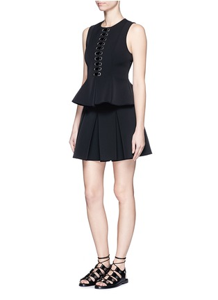 Figure View - Click To Enlarge - Alexander Wang  - Lace-up peplum shell top