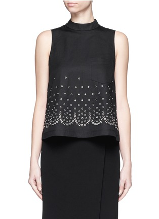 Main View - Click To Enlarge - Alexander Wang  - Eyelet cotton-linen canvas shell top