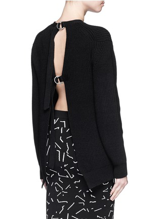 Back View - Click To Enlarge - Alexander Wang  - Open back cotton blend sweater