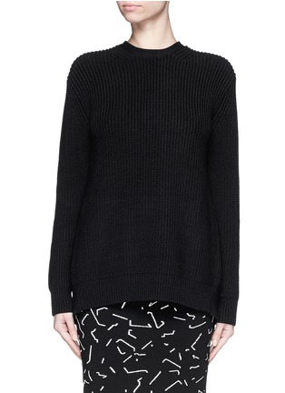 Main View - Click To Enlarge - Alexander Wang  - Open back cotton blend sweater