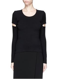 ALEXANDER WANG Slit sleeve stretch knit sweater