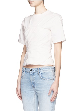 Front View - Click To Enlarge - Alexander Wang  - Ruched jersey bustier T-shirt