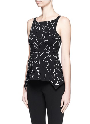 Front View - Click To Enlarge - Alexander Wang  - Shadow Line jacquard peplum top