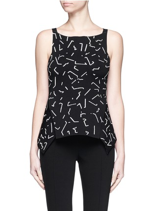 Main View - Click To Enlarge - Alexander Wang  - Shadow Line jacquard peplum top