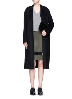 ALEXANDER WANG  Perforated stripe knit wool skirt