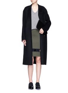 ALEXANDER WANG Perforated stripe knit wool skirt