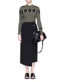 ALEXANDER WANG  Perforated stripe military wool sweater