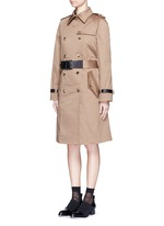 Leather strap oversize twill trench coat