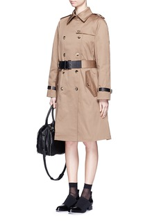 ALEXANDER WANG Leather strap oversize twill trench coat