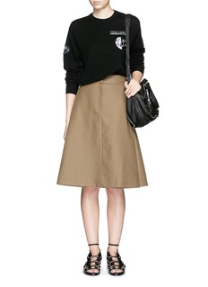 ALEXANDER WANG Folded side pleat A-line midi skirt
