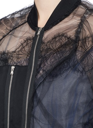 Detail View - Click To Enlarge - 3.1 Phillip Lim - Chantilly lace insert gathered tulle bomber jacket