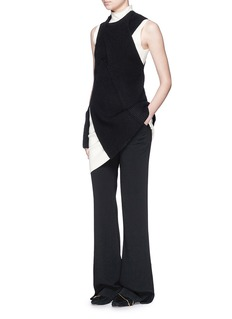 3.1 PHILLIP LIM Draped wool-yak-cashmere sleeveless knit top