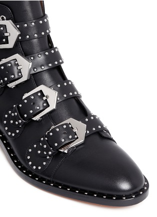 Detail View - Click To Enlarge - Givenchy - Buckle stud leather biker ankle boots