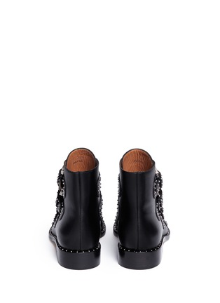 Back View - Click To Enlarge - Givenchy - Buckle stud leather biker ankle boots