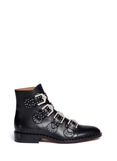 GIVENCHYBuckle stud leather biker ankle boots