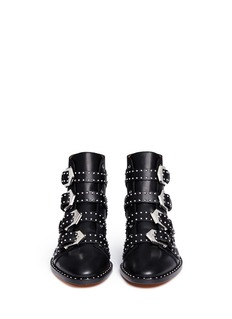 GIVENCHY Buckle stud leather biker ankle boots