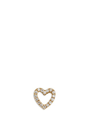 Main View - Click To Enlarge - Loquet London - Diamond 14k yellow gold heart single earring - With Love