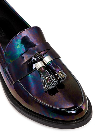 Detail View - Click To Enlarge - Pedder Red - 'Hayden' oil slick patent leather penny loafers