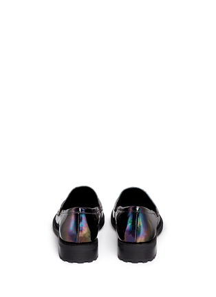 Back View - Click To Enlarge - Pedder Red - 'Hayden' oil slick patent leather penny loafers