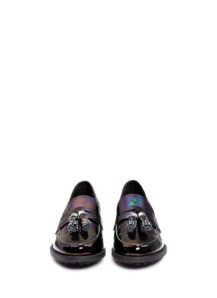 Figure View - Click To Enlarge - Pedder Red - 'Hayden' oil slick patent leather penny loafers