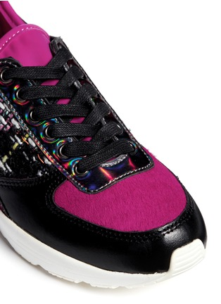 Detail View - Click To Enlarge - Pedder Red - 'Louie' 'holographic leather tweed combo sneakers