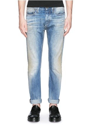 Detail View - Click To Enlarge - Denham - 'Razor' distressed slim fit jeans