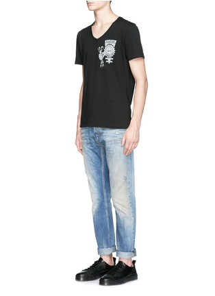 Front View - Click To Enlarge - Denham - 'Razor' distressed slim fit jeans