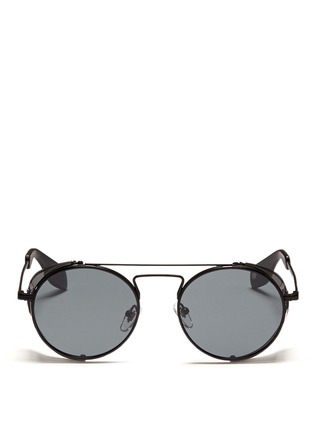 Main View - Click To Enlarge - ANDERNE - 'Cloud No 9' acetate blinker round metal sunglasses