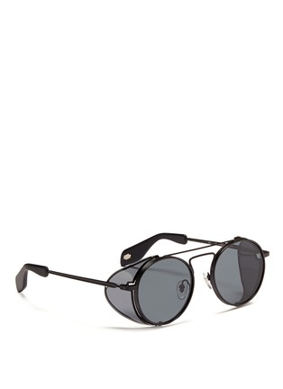 Figure View - Click To Enlarge - ANDERNE - 'Cloud No 9' acetate blinker round metal sunglasses
