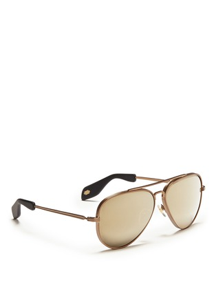 Figure View - Click To Enlarge - ANDERNE - 'Fly With Me' incised aviator sunglasses