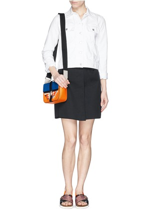 Figure View - Click To Enlarge - MSGM - Acetate wing colourblock leather bag