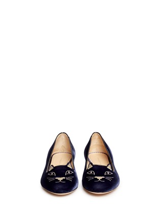 Figure View - Click To Enlarge - Charlotte Olympia - 'Kitty' velvet flats