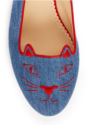 细节 - 点击放大 - CHARLOTTE OLYMPIA - 'Kitty' denim flats
