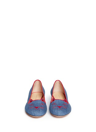 模特示范图 - 点击放大 - CHARLOTTE OLYMPIA - 'Kitty' denim flats