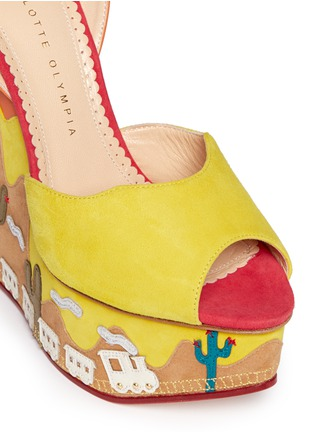 Detail View - Click To Enlarge - Charlotte Olympia - 'Wild, Wild Wedge' suede platform sandals