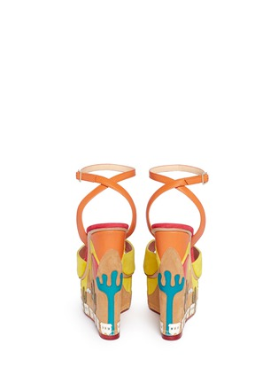 Back View - Click To Enlarge - Charlotte Olympia - 'Wild, Wild Wedge' suede platform sandals